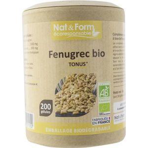 TONUS - VITALITÉ fenugrec bio 200 gelules ecoresponsable  NAT&FORM