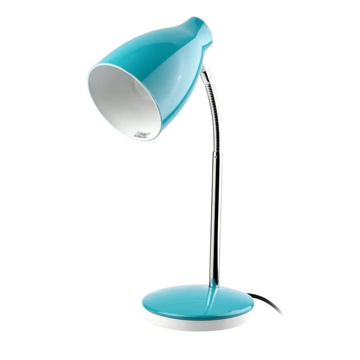 lampe de bureau texto e27 11 w hauteur 36 cm turquoise achat vente lampe de bureau 36 cm. Black Bedroom Furniture Sets. Home Design Ideas