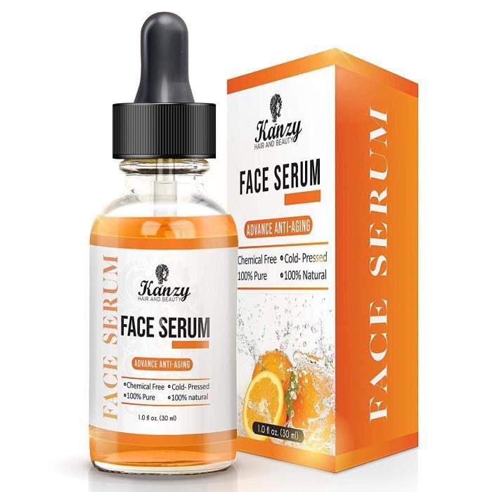 Vitamine C Face Serum Visage - acide hyaluronique pour cicatrices Pigmentation Cernes Crayons Taches Rides Anti-vieillissement 30ml