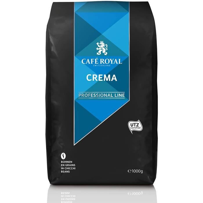 CAFE ROYAL PRO - 5KG CAFE GRAINS UTZ - CREMA - 5 Paquets d'1kg de Café en Grains - Certifié UTZ (éco-responsable)