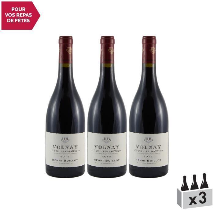 Volnay 1er Cru Santenots Rouge 2012 - Lot de 3x75cl - Maison Henri Boillot - Vin AOC Rouge de Bourgogne - Cépage Pinot Noir