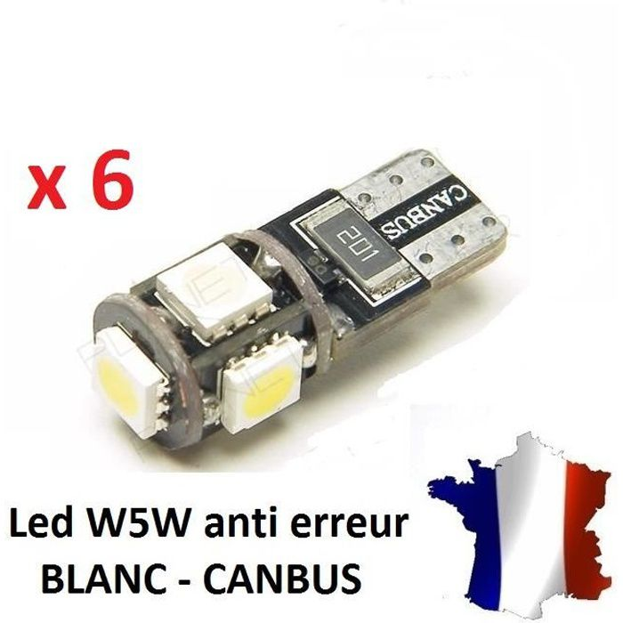6 Veilleuses LED W5W T10 Canbus ANTI ERREUR ODB 6500k XENON 5 SMD voiture moto
