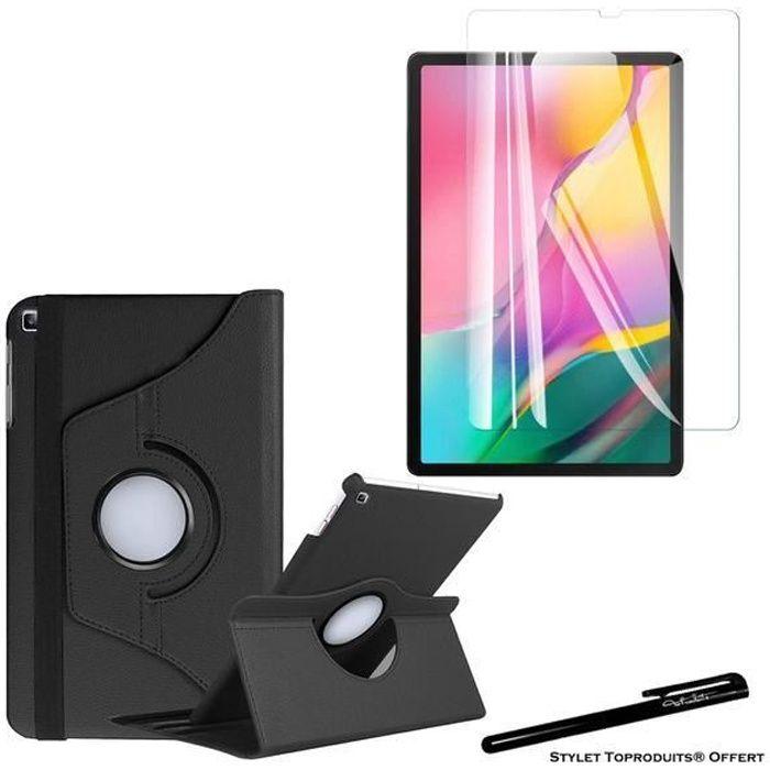 Housse Etui Noir pour Samsung Galaxy Tab A 10.1 2019 T510 T515 Support Rotatif 360° + 1 vitre de protection avec Stylet Toproduits