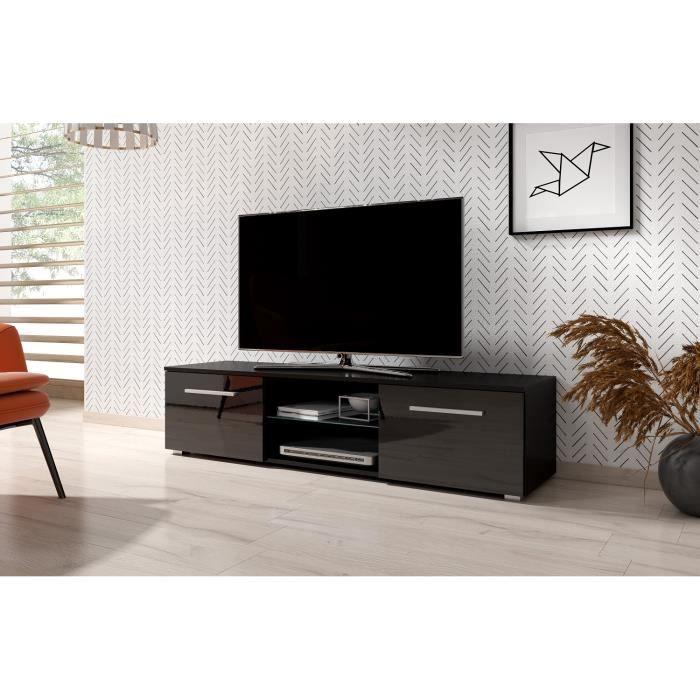 3xeLiving Meuble TV moderniste Punes noir / noir brillant 140 cm