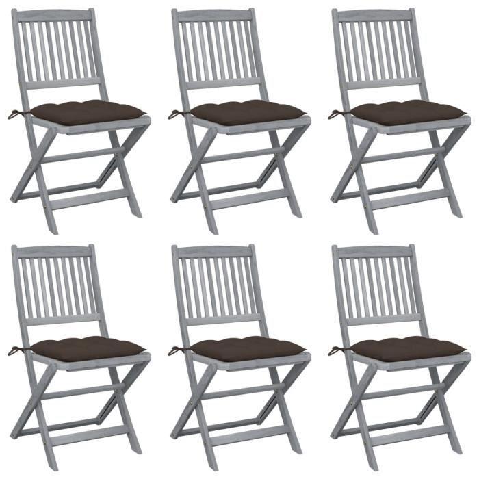 1887GENIAL® Lot de 6 Chaises bistrot de jardin,Jardin,Fauteuil Relax,Chaises pliables d'extérieur 6 pcs avec coussins Bois d'acacia