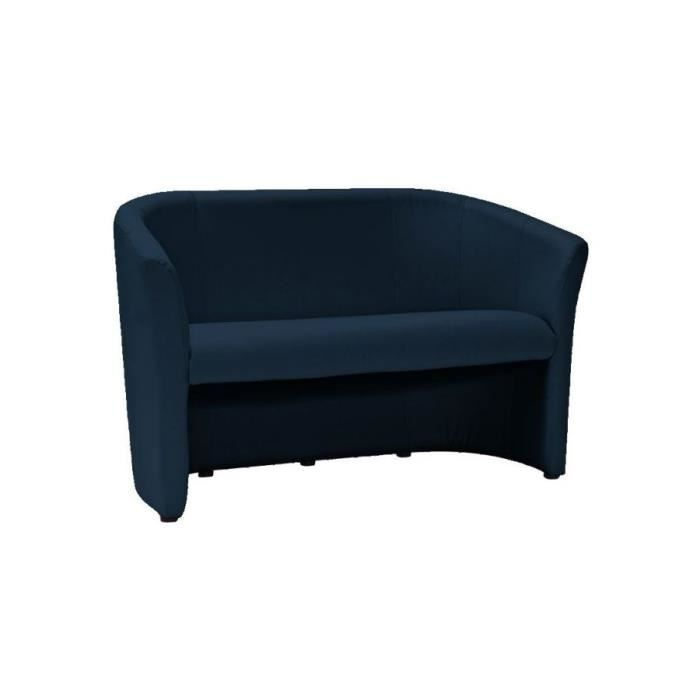 TMAS - Canapé moderne pour salon bureau - 76x126x60 cm - Pieds en bois - Rembourrage en cuir écologique doux - 2 places - Bleu