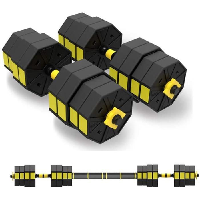 Halteres Set D'halt&egraveres R&eacuteglables, avec Barre D'extension Suppl&eacutementaire, Barbell Gym Caoutchouc Encased, B933
