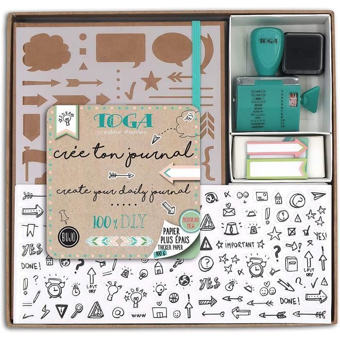 Draeger by Toga - Kit Bullet Journal - Kit Complet pour Créer son premier Bullet Journal - 1 Cahier à Petits Pois + 1 Pochoir + 2 Pl