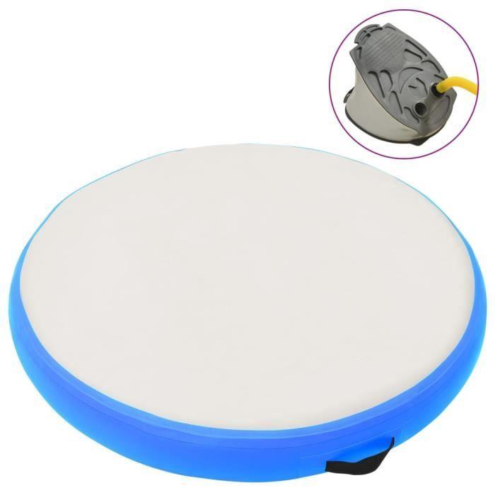 ❤9228 Tapis de gymnastique gonflable avec pompe Contemporain - Tapis de yoga Tapis de Sol Fitness 100x100x15cm PVC Bleu Guide®