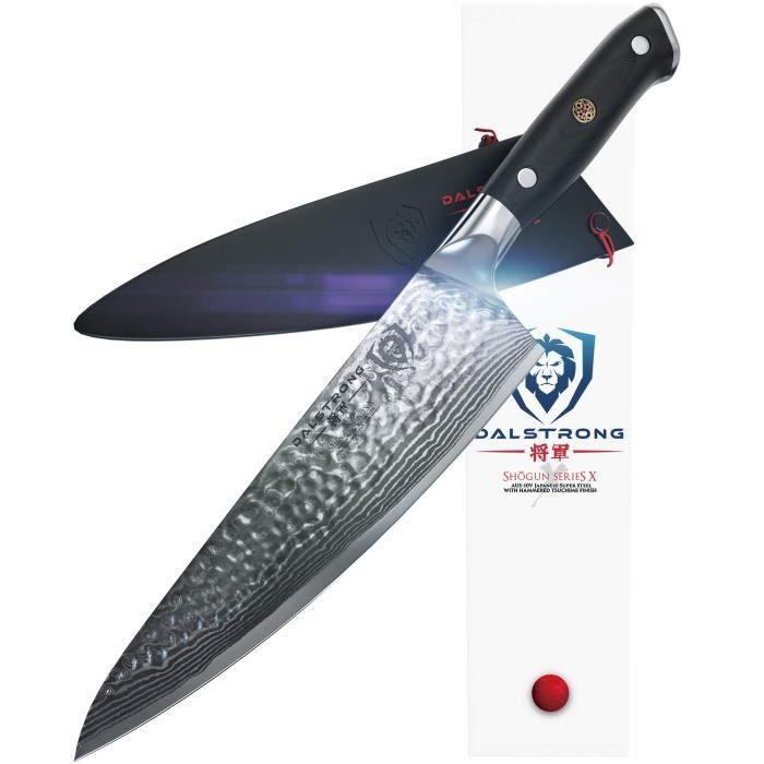 Dalstrong Shogun Series X Gyuto AUS10V Couteau de chef – Finition martelée – 200 mm – Fourreau inclus