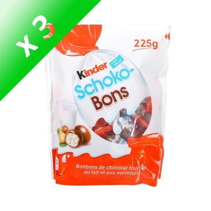 [LOT DE 3] KINDER Bonbons chocolatés Schokobons fourrés au lait et noisettes - 225 g