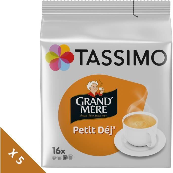 Lot de 5 - Tassimo Grand-mère Petit Dej café - 16 dosettes -133g