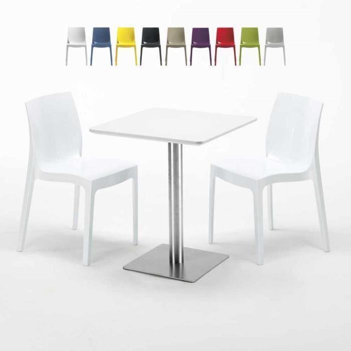 Table carrée 60x60 plateau blanc avec 2 chaises colorées ICE HAZELNUT - couleur:Blanc