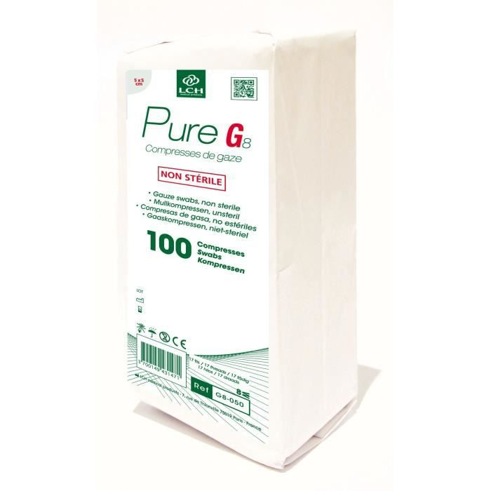 Lot de 50 boites de 100 Compresses de gaze PURE 5x5 cm