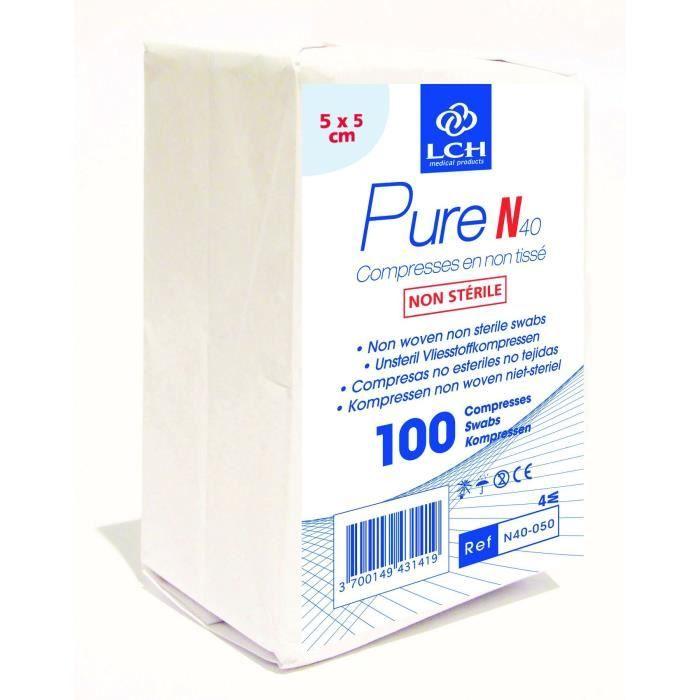Lot de 50 boites de 100 Compresses PURE non tissé non stérile 40g - 5x5 cm