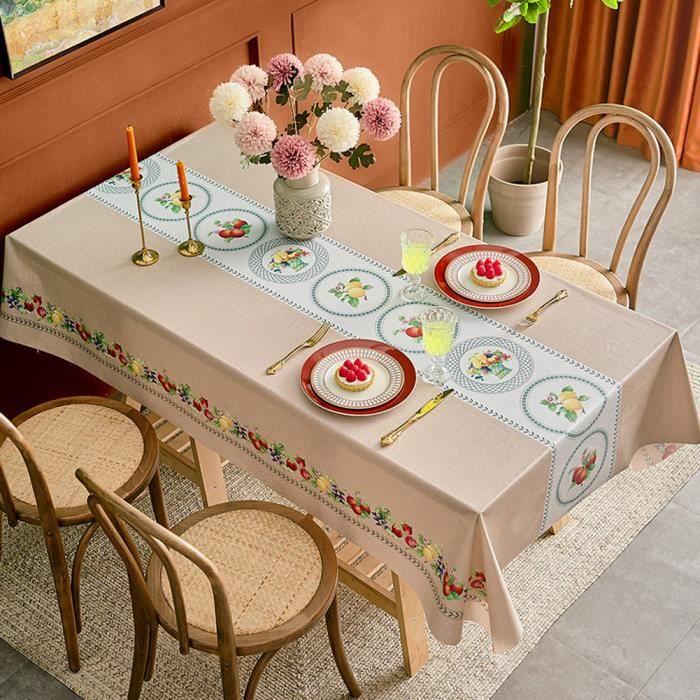 Nappe Rectangulaire Anti Tache,Nappe Imperméable de Table,Lavable Entretien Facile Nappe Carrée,PVC Nappe,Style P-140x200cm
