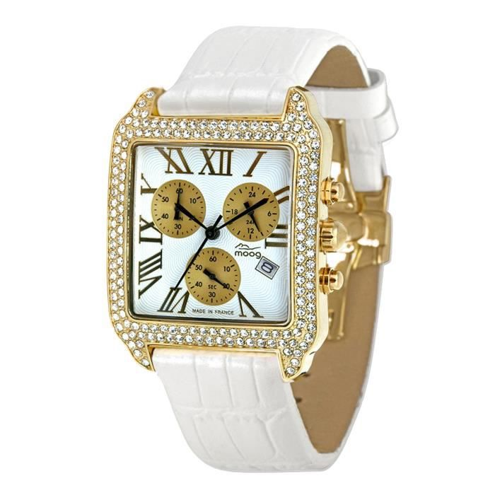 Moog Paris Think Different Women's Watch with White Dial, White Genuine Leather Strap & Swarovski Elements - M44272F-013