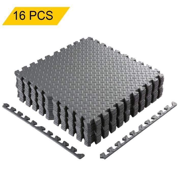 16PCS Tapis Mousse de Sol Tapis de Gym en Mousse EVA Matelas Puzzle Ensemble 60 x 60cm-gris
