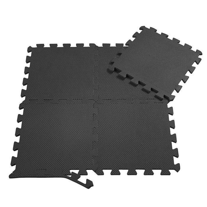 SAMAX Tapis de Protection de Sol de Fitness 18 Dalles - Souple EVA Tapis Mousse d'exercice de Gym Gymnastique en Noir
