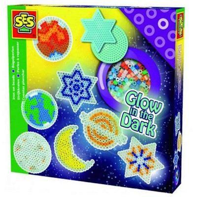 SES CREATIVE Perles à repasser étoiles Glow in the dark