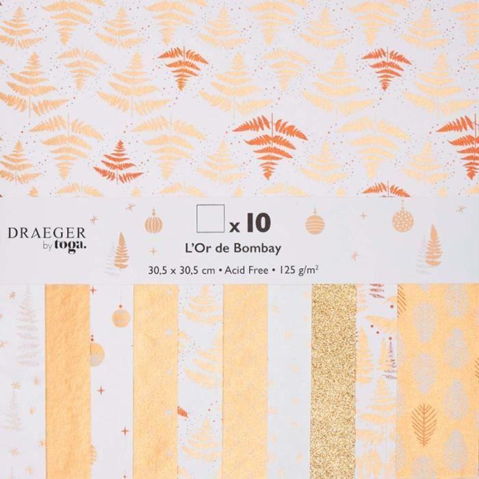 Papier Scrapbooking Toga - Motifs blancs et dorés - 30,5 x 30,5 cm - 10 pcs