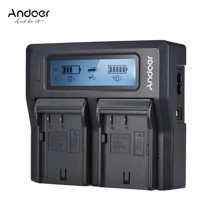Andoer DMW-BLF19E Double Canal LCD Caméra Chargeur de Batterie Pour Panasonic Lumix DC-GH5 DMC-GH3 DMC-GH3K DMC-GH4 DMC-GH4K