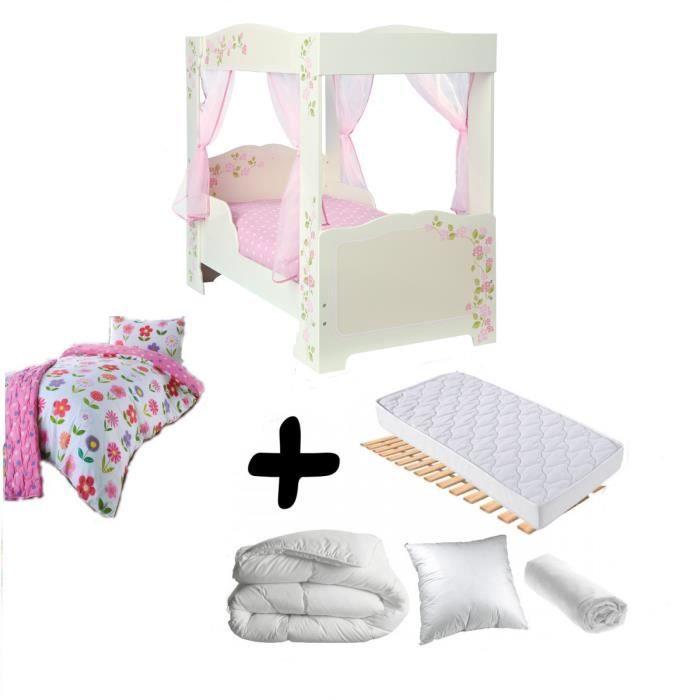 Pack complet Premium Lit fille Princesse à baldaquin = Lit+Matelas & Parure+Couette+Oreiller