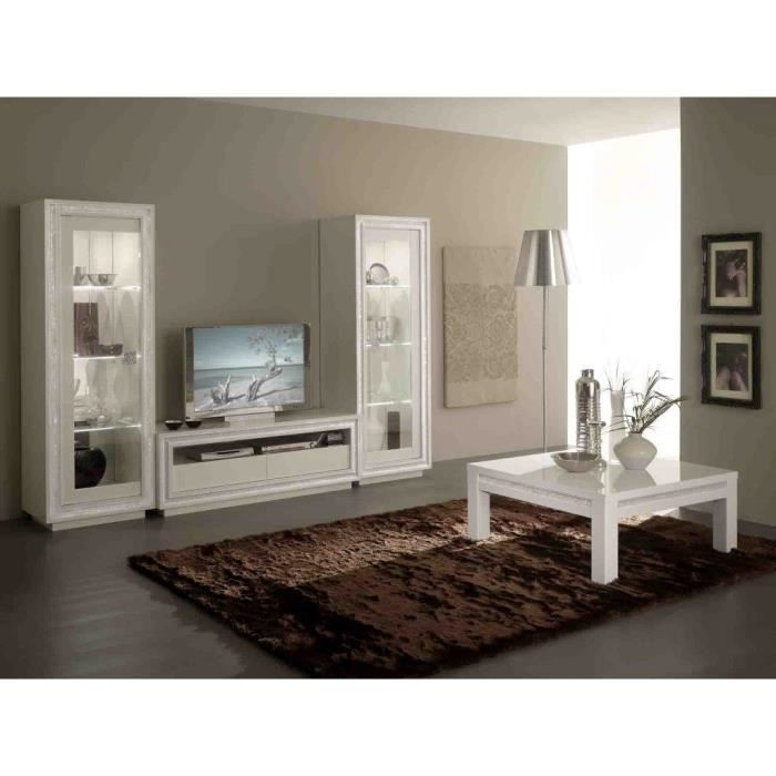 prestige laquee blanche ensemble salle a manger vitrine 2 portes meuble tv table carr. Black Bedroom Furniture Sets. Home Design Ideas