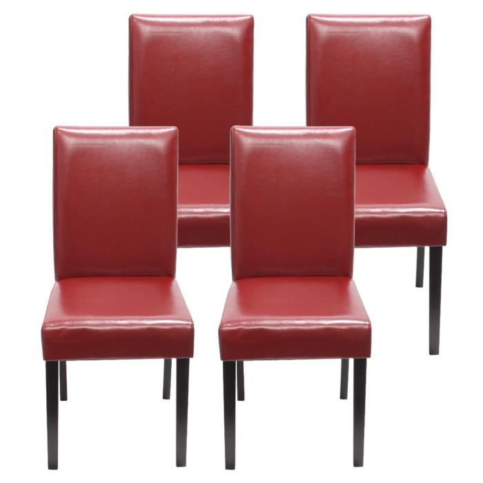 lot de 4 chaises de salle a manger rouge achat vente chaise cdiscount. Black Bedroom Furniture Sets. Home Design Ideas