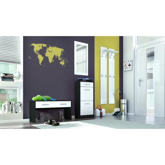ensemble de meubles d 39 entr e noir et blanc achat vente. Black Bedroom Furniture Sets. Home Design Ideas
