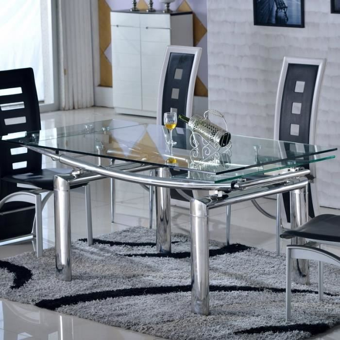 table en verre et inox rallonges bello achat vente table a manger seule table en verre et. Black Bedroom Furniture Sets. Home Design Ideas