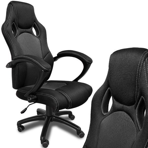 fauteuil de bureau noir en nylon type racing achat. Black Bedroom Furniture Sets. Home Design Ideas