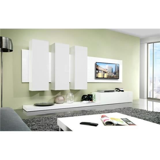 Meuble tv design mural lime blanc composition bois laqu achat vente - Composition meuble tv design ...
