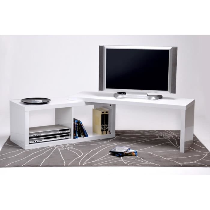 meuble tv extensible blanc laqu candy achat vente. Black Bedroom Furniture Sets. Home Design Ideas
