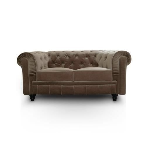 Canap chesterfield velours 2 places taupe luxe achat for Canape chesterfield 2 places