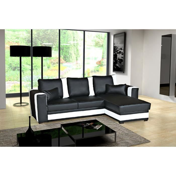 canap d 39 angle convertible pablo noir blanc coffre achat vente canap sofa divan simili. Black Bedroom Furniture Sets. Home Design Ideas