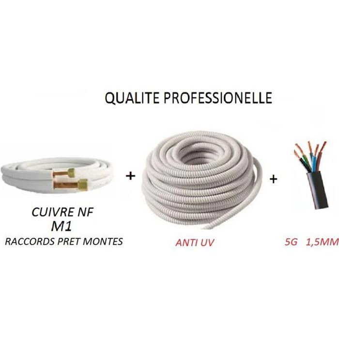 Kit installation Climatiseur mono-Cuivre 3 m/ètres 1//4 3//8-support Charge 80 kg