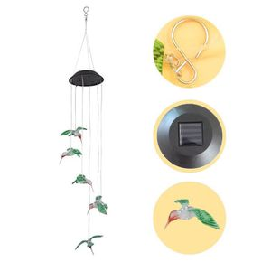 LAMPE A POSER Color Changing LED Solar Wind Chime Hummingbird Wi