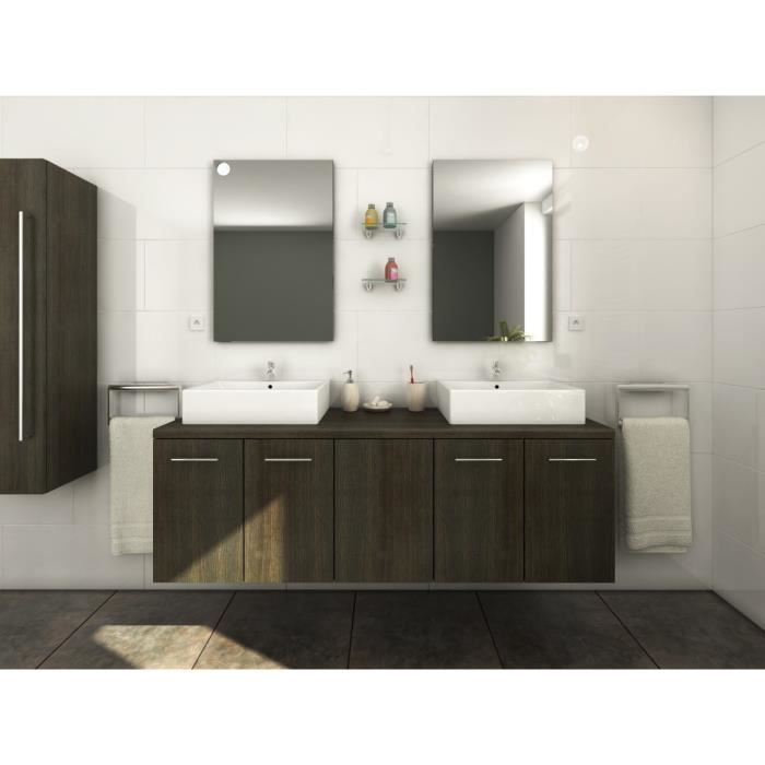 jenny salle de bain compl te double vasque l 150 cm avec miroir d cor weng luisiana achat. Black Bedroom Furniture Sets. Home Design Ideas