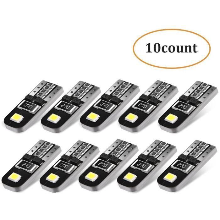 10Pcs Ampoules T10 LED Voiture Lampe Xénon 12V W5W 2825 6000K Ultra Claire-Blanche