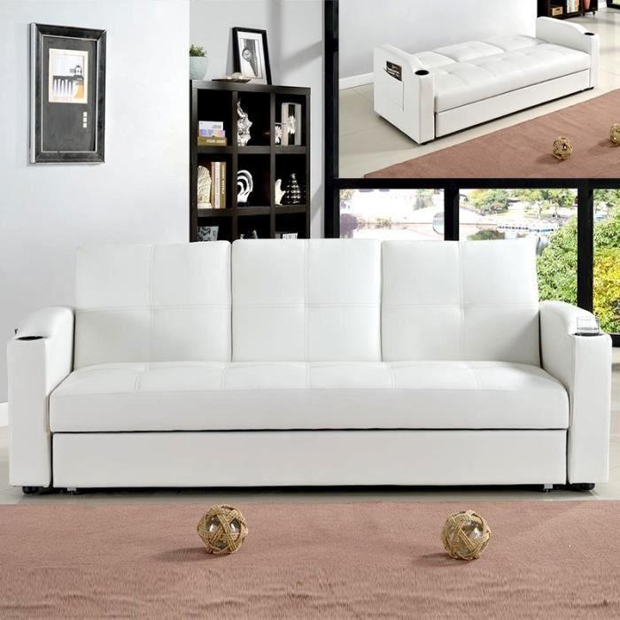 Canapé convertible avec coffre Corabar - Blanc