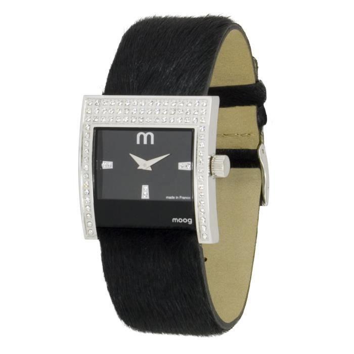 Montre Femme Moog Paris Champs Elysées avec Cadran Noir, Eléments Swarovski, Bracelet Noir en Peau Véritable de Chèvre - M44792-001