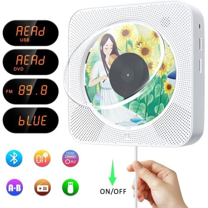 Lecteurs DVD portables Lecteur DVD-CD Portable, Lecteurs CD Portable Bluetooth, Lecteur Multifonctions, Haut-parleurs HD 5835