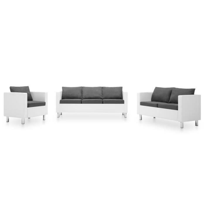 Ensemble de canapé 3 pcs - Salon bas de jardin Sofa Similicuir Blanc et gris clair