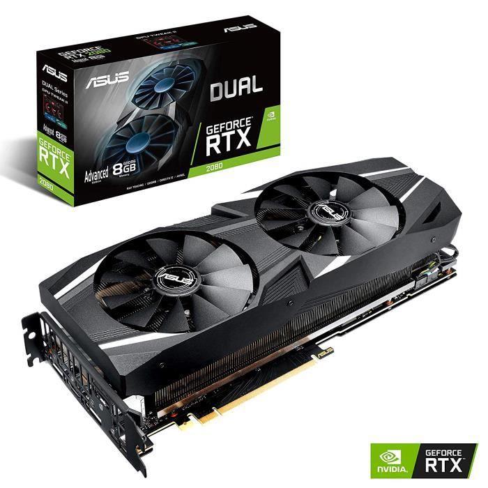 ASUS Carte Graphique DUAL-RTX2080-A8G (Nvidia GeForce RTX 2080, 8Go Mémoire GDDR6)