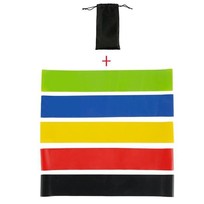 5 pièces bande de fitness élastique pour les bandes de résistance de gymnastique à la maison~D 5pcs with bag JS1644