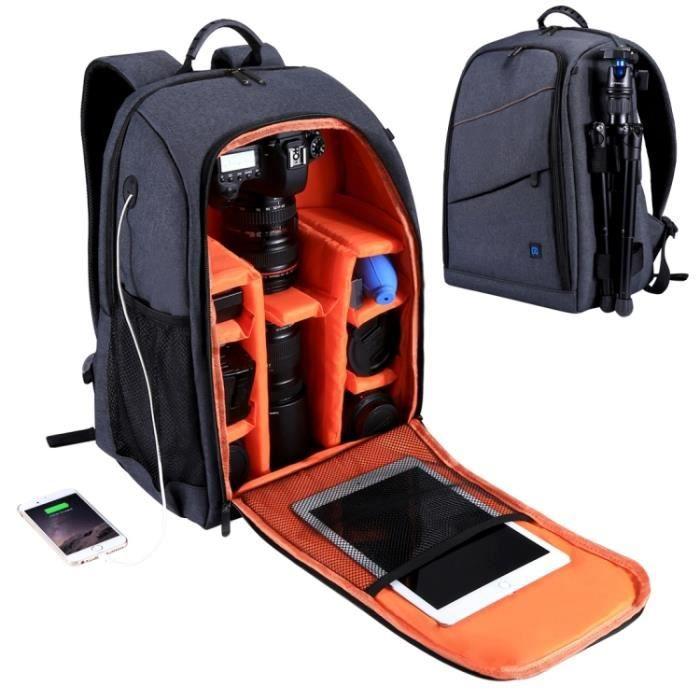 Sac à dos étanche pour appareil photo PULUZ avec sac à dos pour appareils photo reflex numériques Gris-noir