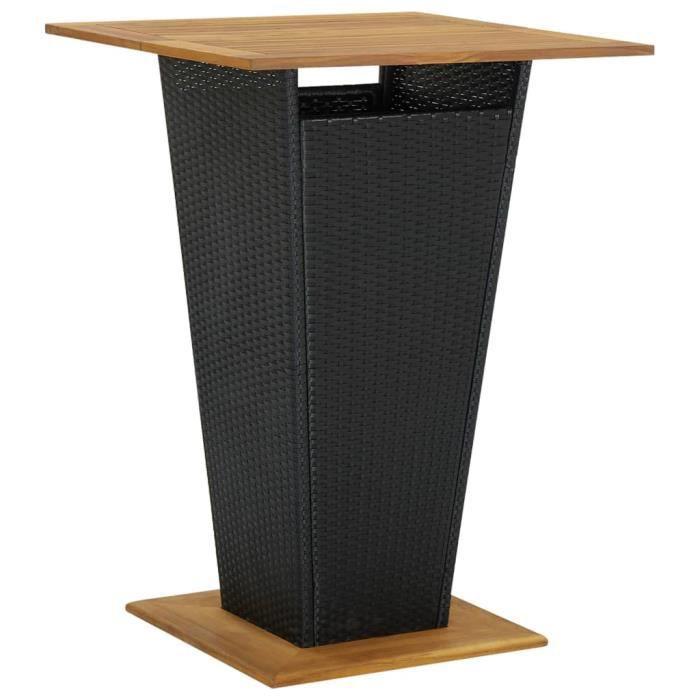 Home Market-8362 Table de bar Table haute Contemporain - Mange-Debout Noir 80x80x110 cm Résine tressée et bois d'acacia