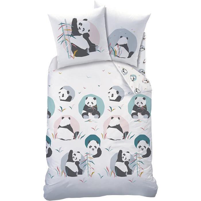 PARURE DE COUETTE ose Panda Parure 100 Coton Blanc 140 x 200 cm63 x 63 cm Taille Franccedilaise91