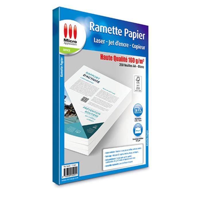 Ramette papier Haute Qualité 250 feuilles 160 g/m² Micro Application impression jet d'encre et laser